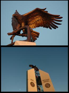 Eagle shown in context of the monument