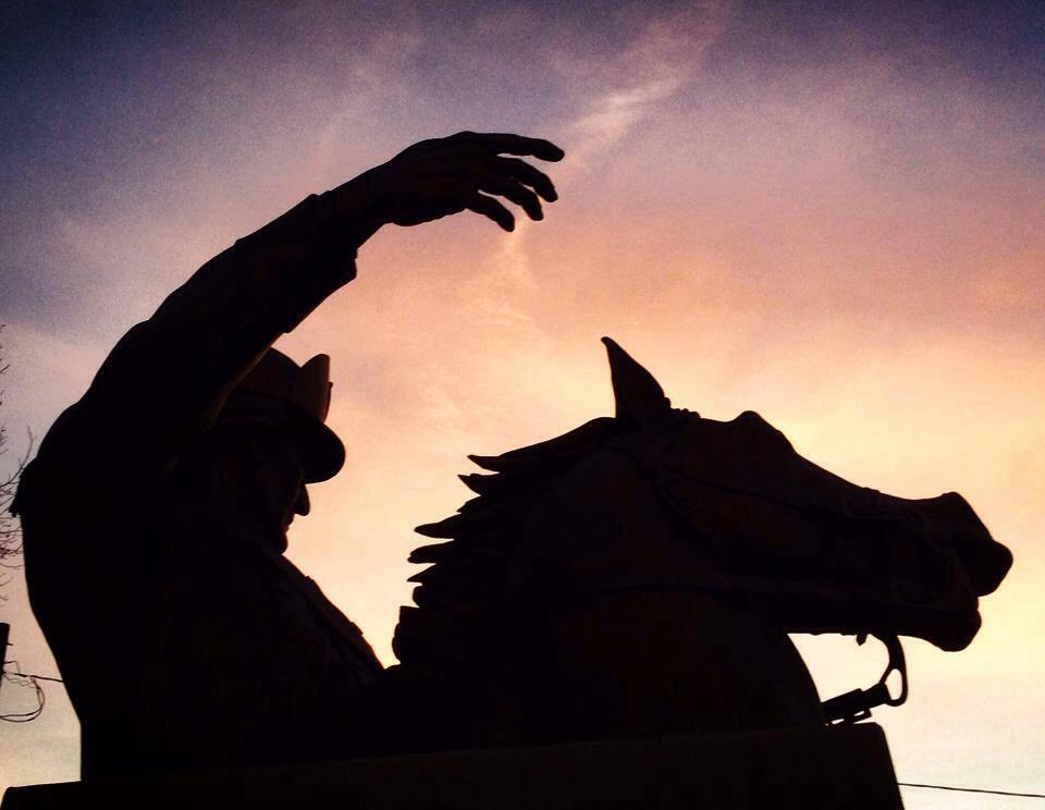 General Francis Marion sculpture at sunset in Johnsonville, SC