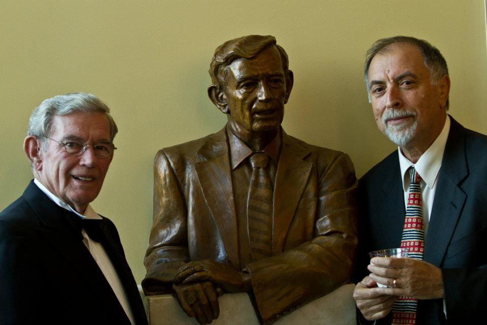 Senator Leatherman sculpture with Senator Leatherman and Alex at the FMU Performing Arts Center