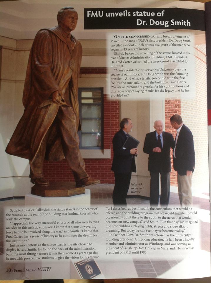 Article discussing the unveiling of the Dr. Smith statue on the FMU campus