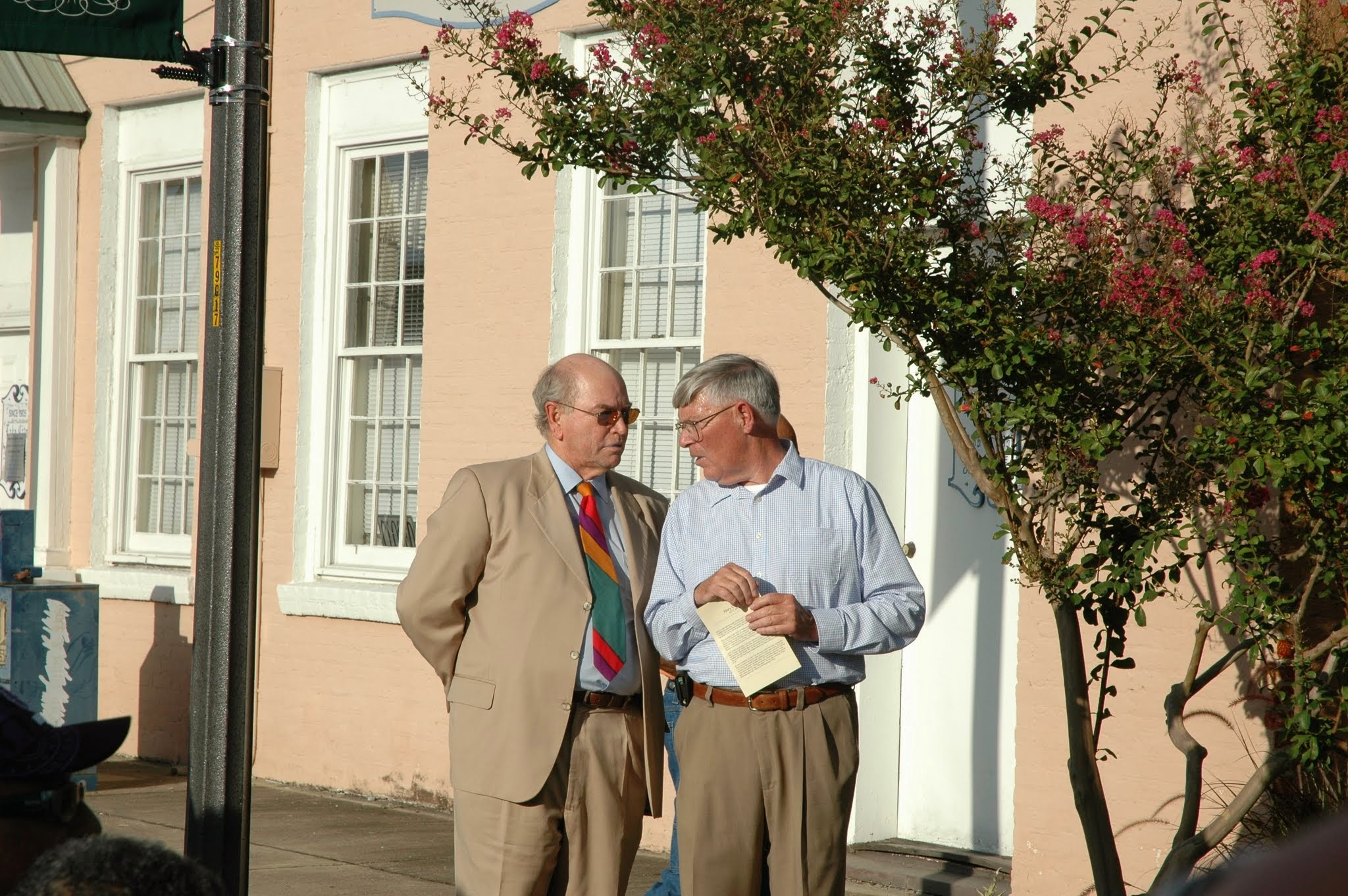 Jim Fields and Ray McBride discussing details