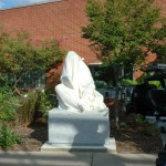 The sculpture wrapped prior to unveiling