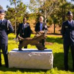 Alex at unveiling of sculpture of dog